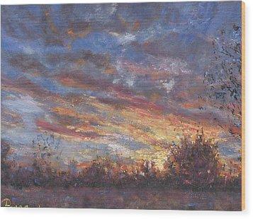 Sunset Fires Wood Print by Horacio Prada