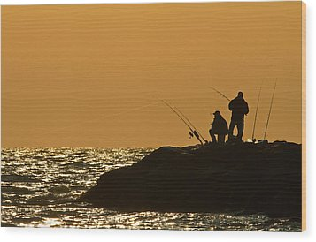 Sunset Fishermen Wood Print