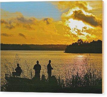 Sunset Fishermen Smith Mountain Lake Wood Print by The American Shutterbug Society