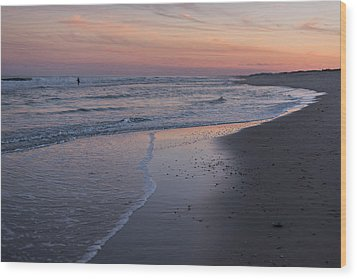 Wood Print featuring the photograph Sunset Fishing Seaside Park Nj by Terry DeLuco