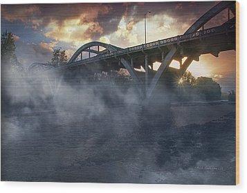 Sunset Fog At Caveman Bridge Wood Print by Mick Anderson