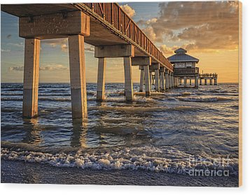 Wood Print featuring the photograph Sunset Fort Myers Beach Fishing Pier by Edward Fielding