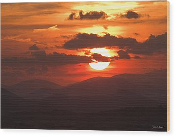 Sunset From The Blue Ridge Parkway Wood Print by John Harmon