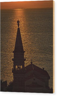 Wood Print featuring the photograph Sunset From The Walls #2 - Piran Slovenia by Stuart Litoff