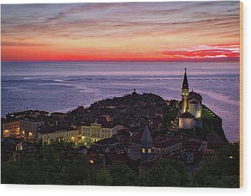 Wood Print featuring the photograph Sunset From The Walls #3 - Piran Slovenia by Stuart Litoff