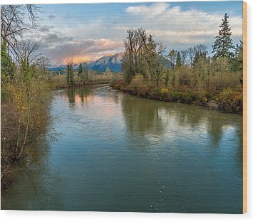 Sunset Glow Over The Snoqualmie River Wood Print