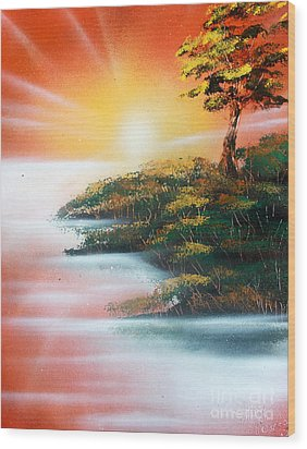 Wood Print featuring the painting Sunset by Greg Moores