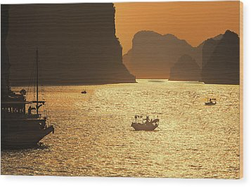 Sunset Ha Long Bay IIi Wood Print by Chuck Kuhn