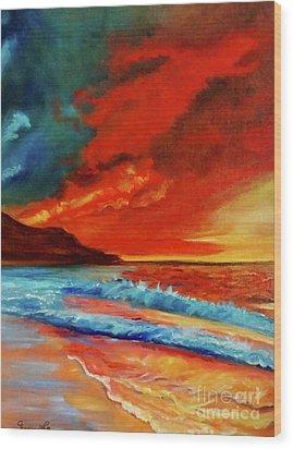 Sunset Hawaii Wood Print by Jenny Lee