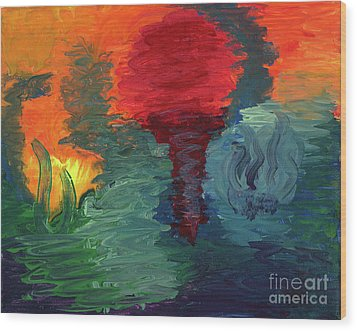Wood Print featuring the painting Sunset I by Ania M Milo
