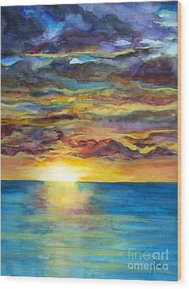 Wood Print featuring the painting Sunset II by Suzette Kallen