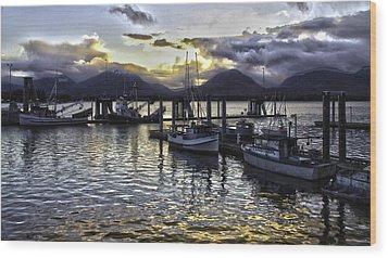 sunset In Alaska Wood Print by Timothy Latta