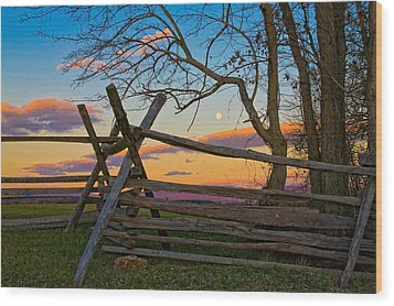 Sunset In Antietam Wood Print by Ronald Lutz