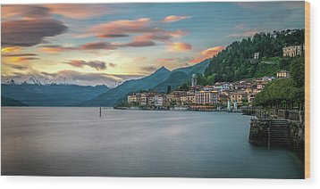 Sunset In Bellagio On Lake Como Wood Print by James Udall