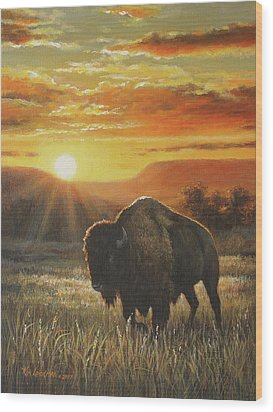 Sunset In Bison Country Wood Print