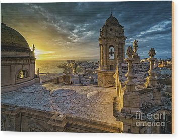 Wood Print featuring the photograph Sunset In Cadiz Cathedral View From Levante Tower Cadiz Spain by Pablo Avanzini
