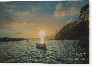 Sunset In Cinque Terre Wood Print by Alex Dudley