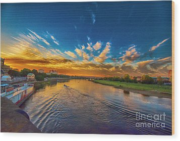 Sunset In Dresden Wood Print