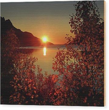 Sunset In Ersfjordbotn Wood Print by John Hemmingsen