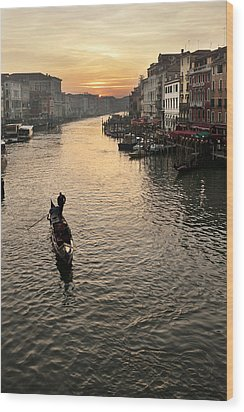 Sunset In Grand Canal Wood Print by Marco Missiaja