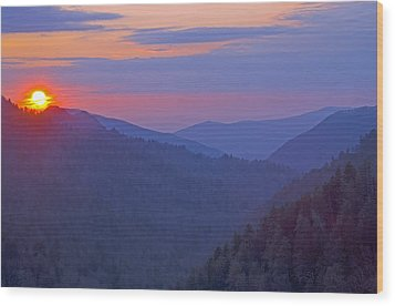 Sunset In Great Smoky Mountain National Park Tennessee Wood Print by Brendan Reals