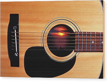 Sunset In Guitar Wood Print