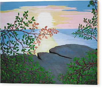 Wood Print featuring the painting Sunset In Jamaica by Stephanie Moore