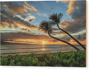 Wood Print featuring the photograph Sunset In Kaanapali by James Eddy