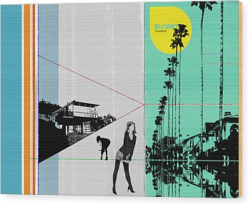 Sunset In La Wood Print by Naxart Studio