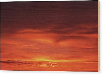 Wood Print featuring the photograph Sunset In Orange by Edward R Wisell