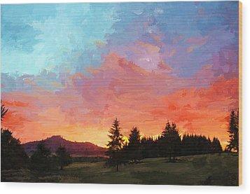 Sunset In Oregon Wood Print
