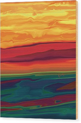 Wood Print featuring the digital art Sunset In Ottawa Valley 1 by Rabi Khan