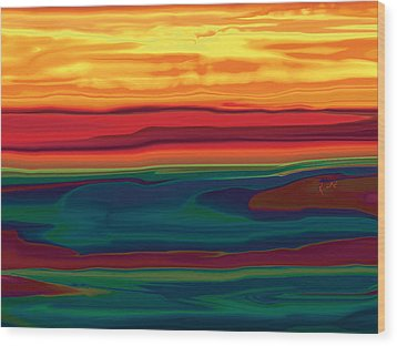 Wood Print featuring the digital art Sunset In Ottawa Valley by Rabi Khan