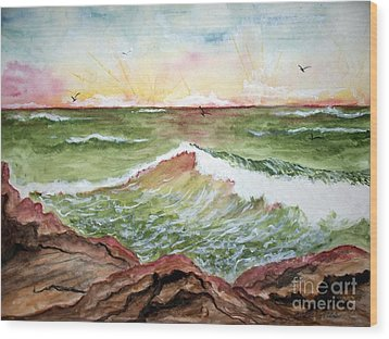Wood Print featuring the painting Sunset In Pink by Carol Grimes