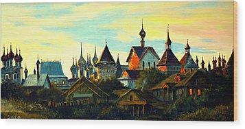 Sunset In Rostov Wood Print by Henryk Gorecki