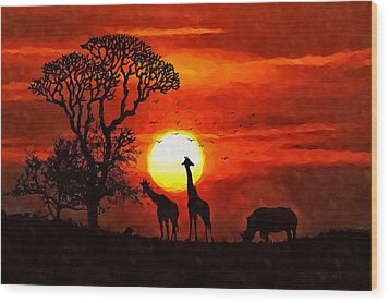 Sunset In Savannah Wood Print