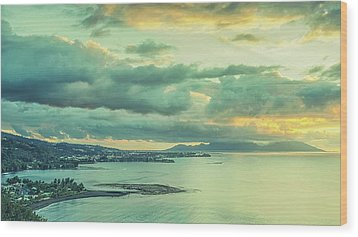 Wood Print featuring the photograph Sunset In Tahiti by Gary Slawsky