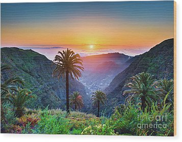 Sunset In The Canary Islands Wood Print by JR Photography