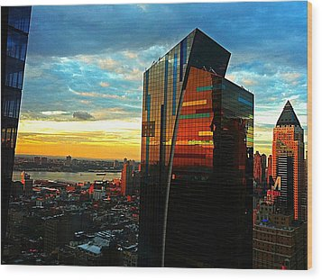Sunset In The City Wood Print by Lisa  Esposito