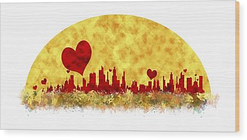 Sunset In The City Of Love Wood Print by Anton Kalinichev