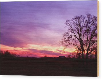 Sunset In The Country Wood Print by Amanda Kiplinger