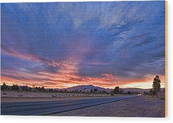 Sunset In The Desert Wood Print by Ches Black
