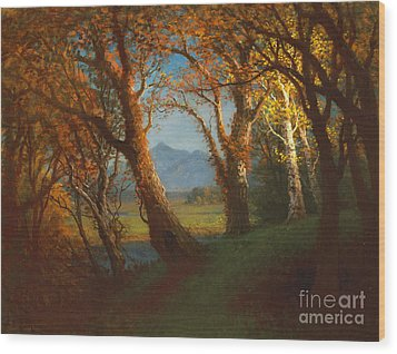Sunset In The Nebraska Territory Wood Print by Albert Bierstadt
