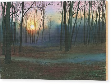 Sunset In The Park Wood Print