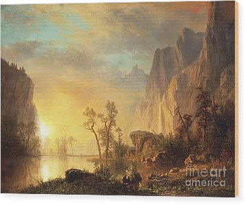 Sunset In The Rockies Wood Print