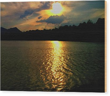Wood Print featuring the digital art Sunset In The Smoky Mountains 1 by Chris Flees