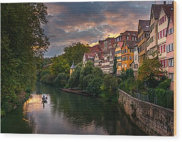 Sunset In Tubingen Wood Print