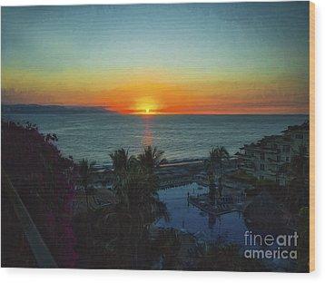 Sunset In Vallarta  ... Wood Print by Chuck Caramella