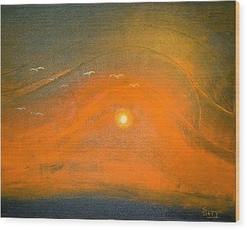 Wood Print featuring the painting Sunset In Valleys by Piety Dsilva