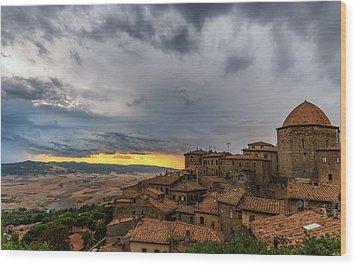 Sunset In Volterra Wood Print